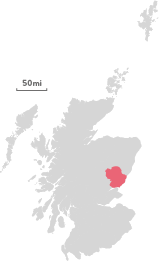 Map of the region of Dundee and Angus.