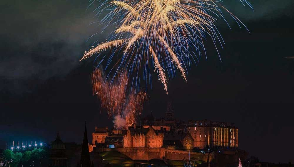 A fireworks display above Edinburgh Castle on Hogmanay.