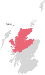 Map of the region of The Highlands.