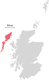 Map of the region of the Outer Hebrides.