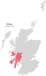 Map of the region of Argyll and the Isles.