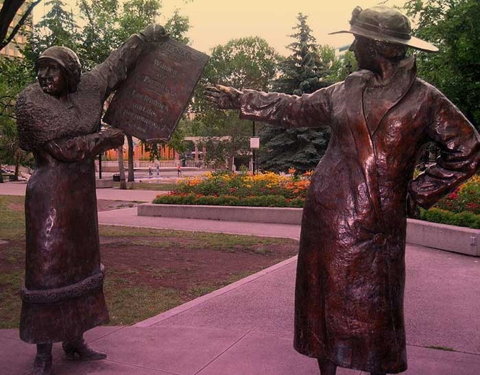 A statue of Nellie McClung and Agnes MacPhail who were at the forefront of women's suffrage in Canada.